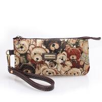 小熊帆布零钱包卡通手机包时尚女士钱包手拿包女