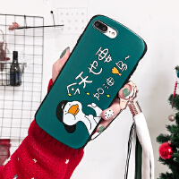 iPhonex手机壳苹果x壳也要加油鸭8plus挂绳 挂脖式7p绿色6p可爱超萌iPhone xs /s4.7加油鸭