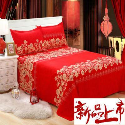 卡通风红色床单单件婚房大红色婚礼单子结婚用双人床加厚大气婚庆