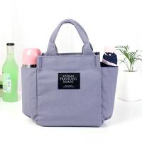 带饭手提袋子帆布妈咪包饭盒包韩版午餐便当包拎装饭盒袋的手提包 浅灰色 纯色帆布
