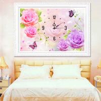家居家居点钻石十字绣钟表 客厅新款挂钟5d异形钻石画卧室创意砖石秀玫瑰 图片色 70*50厘米异形5d非满钻贴数字花朵