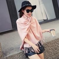 女士秋冬季仿羊绒保暖加厚披肩毛线围巾两用百变长款斗篷外套