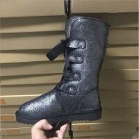 真皮雪地靴女2018新款加绒防水防滑厚底学生系带高筒皮毛一体棉靴SN0083