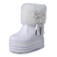 2018冬季新款蝴蝶结雪地靴女厚底内增高短靴百搭加绒白色毛毛靴子