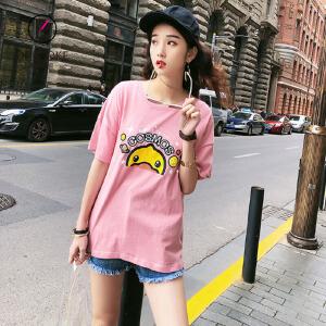 欧若珂    2018夏季新款小黄鸭时尚印花短袖T恤女宽松上衣打底衫女
