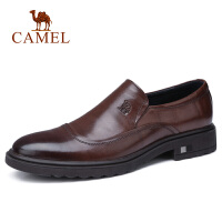 camel 骆驼男鞋 秋季新款商务正装皮鞋牛皮套脚皮鞋三接头办公皮鞋