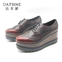 Daphne/达芙妮 秋款圆头坡跟英伦风休闲女士单鞋
