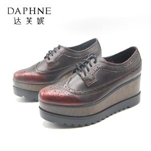 【双十一狂欢购 1件3折】Daphne/达芙妮 秋款圆头坡跟英伦风休闲女士单鞋