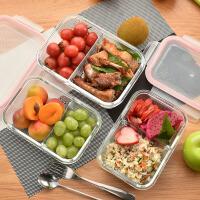 百露玻璃饭盒分隔保鲜盒套装冰箱微波炉用有分格便当收纳饭盒