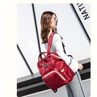 妈咪包双肩包时尚韩版妈咪袋牛津布大容量母婴包宝妈外出旅游背包 红色 迷彩偏点点暗