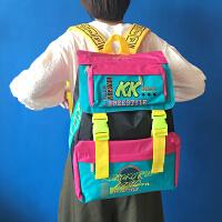 韩版原宿zipper霹雳复古糖果色背包撞色双肩包bf学院风中学生背包