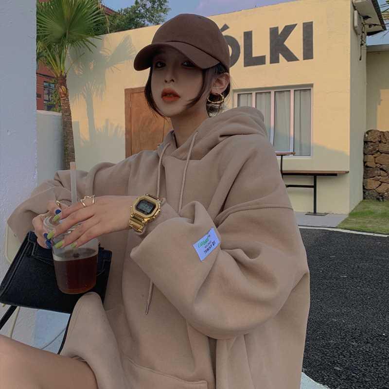 连帽套头卫衣女秋冬2020新款韩版加绒休闲上衣宽松显瘦长袖外套潮