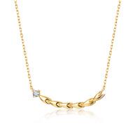 佐卡伊18k金钻石项链求婚吊坠女时尚新品项坠正品珠宝麦穗系列