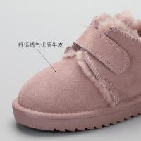 舞玛儿童雪地靴2018冬季新款韩棉靴真皮男童短靴保暖加厚女童靴子