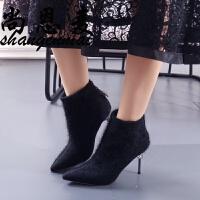 细跟短靴女2018秋春新款气质尖头水钻裸靴时尚加绒女靴高跟马丁靴