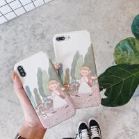 苹果6s手机壳磨砂硬壳iPhone8/X/7plus可爱卡通女孩日韩全包外套