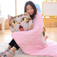 仿真3D猫头靠垫空调被喵星人猫咪抱枕家靠枕可拆洗 灰色眼镜款狐狸 1.5*1米
