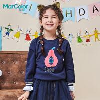 【2件2折】拉巴拉旗下马卡乐2019春新品女童甜美印花宽松上衣花边针织卫衣