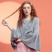 【2件2.5折到手价:44.75】美特斯邦威长袖衬衫女夏装新款格子喇叭袖衬衣