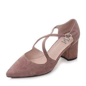 Tata/他她2018春羊皮绒面尖头粗高跟女皮凉鞋S1A05AK8