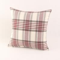 亚麻格子沙发抱枕套午睡抱枕靠垫床头靠垫套大号腰枕含芯可拆洗 红色 红白条格