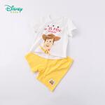 【6.20秒杀价:42】迪士尼Disney童装 男童肩开短袖套装夏季新款玩具总动员印花短T撞色五分裤两件套192T86