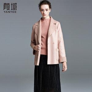 颜域品牌女装2017冬装新欧美纯色翻领皮毛一体直筒修身皮衣外套女