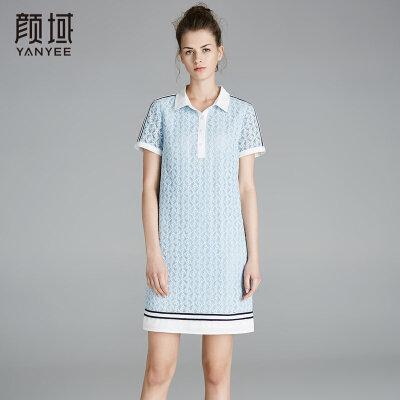 颜域2018新款蕾丝钩花连衣裙撞色衬衫领镂空短袖裙子品牌女装夏款