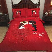 结婚纯棉卡通婚庆磨毛四件套大红全棉新婚1.8m床上用品床单4件套