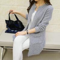 加厚中长款针织衫女开衫秋冬季韩版圆领长袖宽松毛衣外套