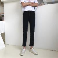 2018夏季韩版时尚高腰修身裤脚毛边弹力黑色铅笔裤九分小脚裤女
