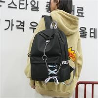 韩版日系原宿简约铁环帆布双肩包学院风背包男女中大学生书包