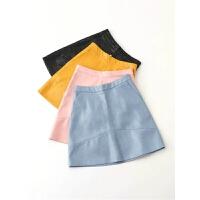 高腰PU皮裙半身裙女粉色A字裙子新款秋冬季纯色短裙黄色欧美女装
