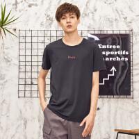 【1件2.5折到手价:39.8】美特斯邦威T恤短袖男夏季新款青少年小字母印花基础短袖T恤S