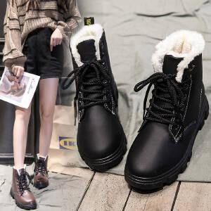 雪地靴女短靴女棉鞋女2018冬季新款韩版切尔西短靴女靴保暖加绒冬鞋雪地靴百搭学生棉鞋06LBK