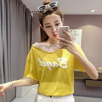 字母T恤女夏装新款韩版网纱拼接宽松圆领短袖上衣打底衫学生