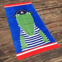 纯棉大浴巾儿童学生游泳可爱鲨鳄鱼蓝色男女吸水洗澡毛巾 160x80cm