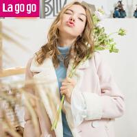 Lagogo/拉谷谷2017年冬季新款甜美双排扣拼接毛边外套