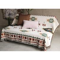 简约北欧沙发罩布复古几何现代棉线沙发套罩布艺术少数民族美式客厅地毯 双面苏克雷