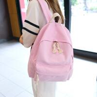时尚韩版书包帆布背包粉色户外包学院风百搭中学生包包迷你运动