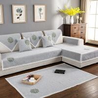 四季通用棉麻绣花布艺沙发垫亚麻坐垫简约现代薄款靠背沙发巾套罩定制! 团圆树 包边灰色