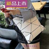 时尚镭射变形女包新款几何菱格手提包百变折叠单肩大包