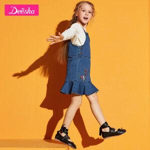 【2折价:72】笛莎女童中大童背带裙2019春季新款儿童纯色女童牛仔背带裙