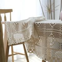 复古欧式美式田园针织钩针纱桌布拍摄背景镂空文艺蕾丝茶几盖巾