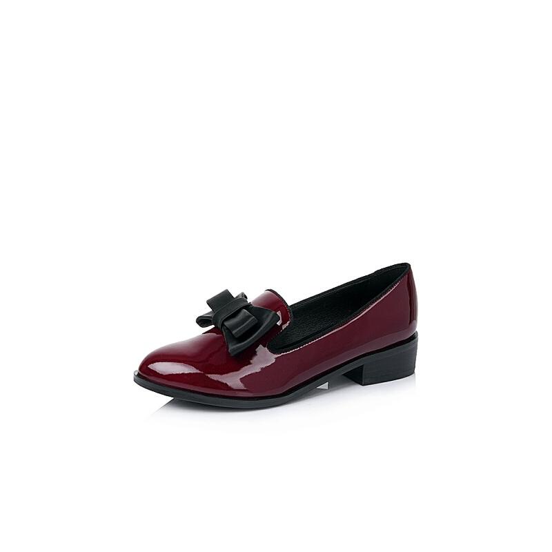 BASTO/百思图2016秋季专柜同款/黑色漆皮牛皮浅口女单鞋TS725CQ6
