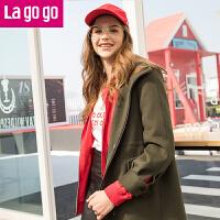 Lagogo2019冬季新款中长款外套毛呢纯色呢子韩版连帽长袖大衣女