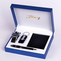 父亲节送父亲的礼物男士钱包礼品套装时尚手表4件套木盒创意钥匙扣礼品经典礼品定制 黑色四件套+礼盒