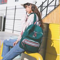 双肩包女百搭撞色复古小清新校园中学生书包帆布背包潮