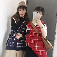 春装新款韩版学院风百搭宽松显瘦口袋拼接格子无袖针织马甲女上衣