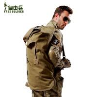 军迷用品战术背包可折叠桶包男户外双肩帆布登山包旅行提包